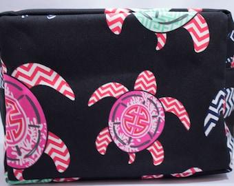 Cosmetic Bag-Black-Sea Turtle-Mint Green-Coral-Pink-Nautical-Ocean-Beach