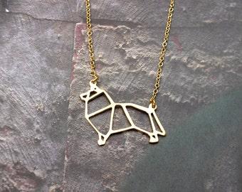 Sheltie Sheepdog, Dog Necklace, Origami Necklace, Sheltie Necklace, Dog Breed, Pet Necklace, Pet memorialize, Dog Gifts, Gift under 20