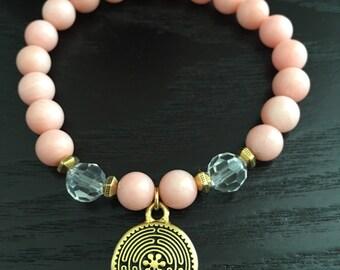 Pink Bamboo Coral Crystal Quartz Gold Labyrinth Bracelet, Yoga Bracelets, Meditation Bracelets,Gifts for Her, Spiritual Bracelets