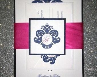 "Monogram Style Damask Wedding Invitation Suite Wrapped in 2"" Ribbon"