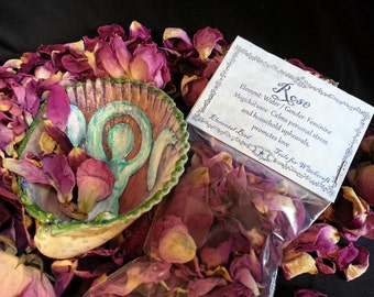 Rose Petals, Love Spell kit, Goddess in the Sea Shell,  herbs, wiccan, witchcraft, green witch, Magick Magic use