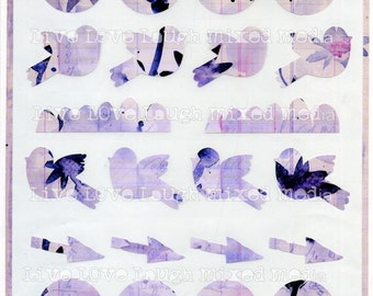 Mixed media black flowers stickers art journaling several shapes arrows, birds, scallops, circles