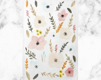 Fall Floral Watercolor Kitchen Towel