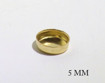 14k Gold Filled Round 5 mm Bezel Cups