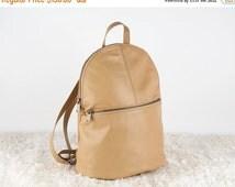 SALE Unisex Backpack, Tan Leather Backpack, Soft Leather Backpack, Leather Rucksack, Small Leather Backpack, School Backpack, Travel Backpac