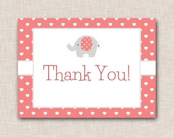Girls Thank You card with Elephant, coral and grey letters, pink and white hearts (072aTY)