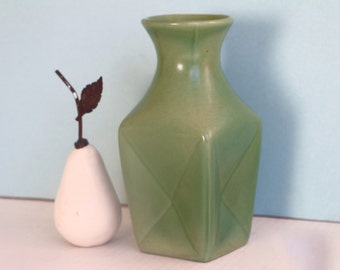 Red Wing Pottery Vase 1633 Green Pinched Vase 1940s Home Decor