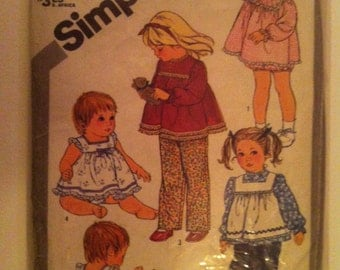 1980s Simplicity 5733 Sewing Pattern Toddler'S Pull-on Pants  top and Pinafore or sundress and panties1982