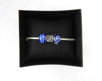 lucky lady dice with deep blue/white charm sliver bracelet clip your on a roll