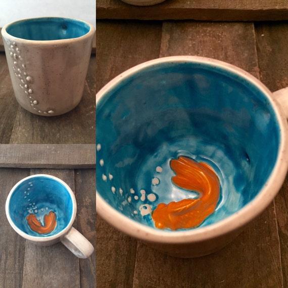 Goldfish mug koi fish mug good luck koi cup still life ooak for Koi fish bowl
