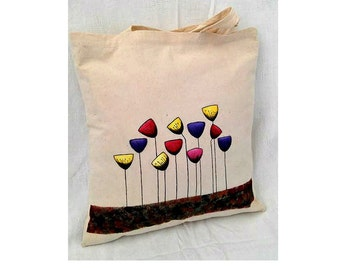 Shopping Tote Bag, Cotton Tote Bag, Reusable Tote Bag, Flower Bag, Grocery Bag, Fair Trade Bag, Shopping Bag, Farmers Market Bag