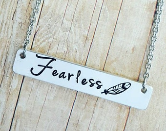 Fearless Necklace - Feather Necklace - Boho Necklace  - Always be Fearless - ID Mermaid Necklace - Motivational - Inspirational jewelry