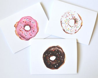 watercolor notecards - birthday donut invitation - donut baby shower card - police officer gift - donut birthday party- blank notecards