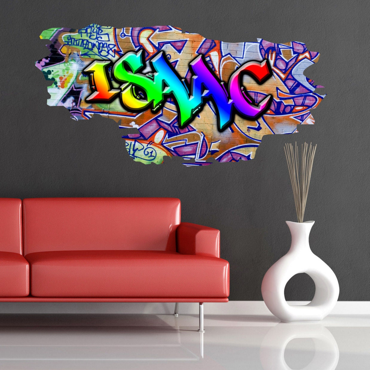 personalised custom graffiti name wall decals full colour wall. Black Bedroom Furniture Sets. Home Design Ideas