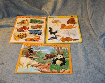 3 Picture Puzzles, Puzzle Patch, Types of Bears, Construction Vehicles, & Wild Animals, 25 Pieces in Each Puzzle, Ages 3-7 Years Old, Fun