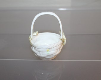 Porcelain Easter Egg Basket For Home Decoration During Holiday Season w Two Ribbons, 1 on Each Side of Handle, Weaved Basket, White, Yellow