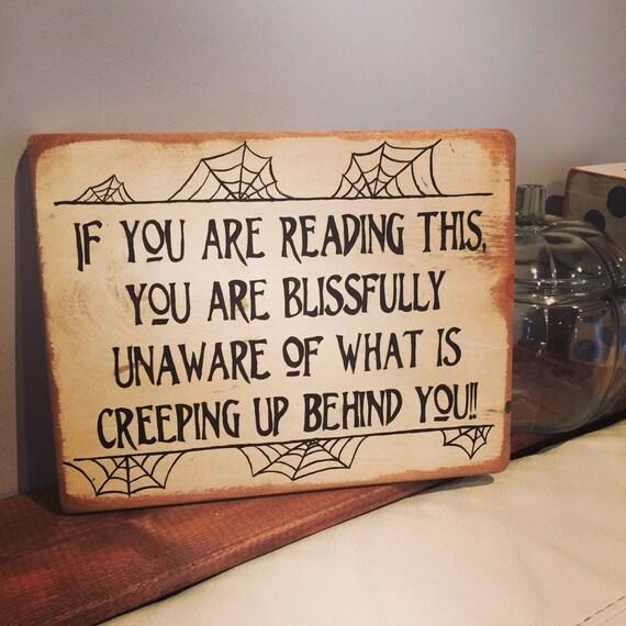 HALLOWEEN Creepy Halloween Sign Decor Wooden Sign