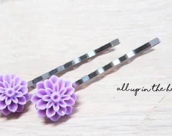 Purple Dahlia Bobby Pins - Purple Bobby Pins - Flower Bobby Pins
