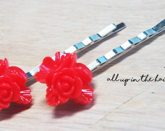 Red Flower Bobby Pins - Bouquet Bobby Pins