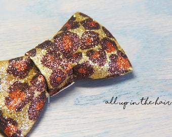 Leopard Print Barrette - Leopard Print Hair Clip - Leopard Bow Clip