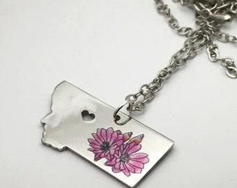 Bitterroot flower on montana necklace, heart montana, love montana, bitterroot, state necklace