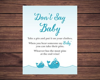 Don't Say Baby Baby Shower Game, Dont Say Baby Clothespin Game Blue Whales PDF Printable