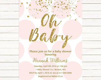 Pink and Gold Baby Shower Invitation, Gold Confetti Baby Girl Shower Invitation, Pink Gold Polka dots Gold and Pink JPEG PDF Printable