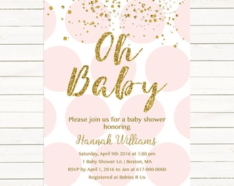 Pink and Gold Baby Shower Invitation, Gold Confetti Baby Girl Shower Invitation, Pink Gold Polka dots Gold and Pink JPEG PDF Printable203