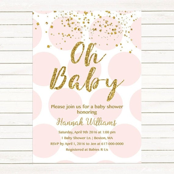 baby shower invites pink and gold baby shower invitation gold confetti baby 30488