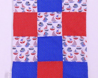 Ahoy there, sailor embroidery, Baby quilt, boys baby blanket, new mother, new addition, nautical comfort blanket, anchors, nursery bedding