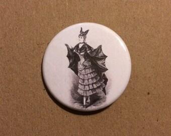 Elegant Victorian Bat Lady Pinback Button