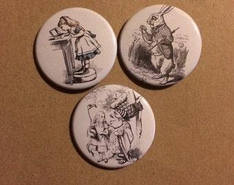 Alice In Wonderland Pinback Buttons Set Of Three