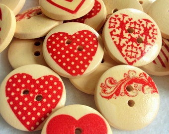 Buttons - wooden buttons - Painted buttons - Hearts buttons - Pack of 10 - Craft Supplies