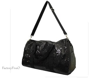 Black Sequin Weekender Duffel - Bridesmaid gift - dance- ballet  gym bag