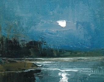 Moon Lake. 8X8 Original tonalist landscape oil painting on canvas panel.