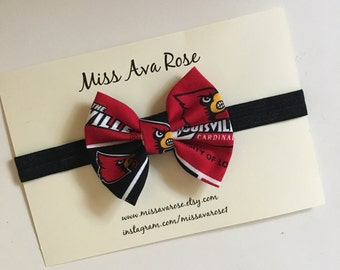 University of Louisville Cardinals inspired bow, Louisville Cardinals, Cardinals bow, Louisville bow, Louisville Cardinals bow
