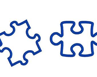 Two Puzzle Pieces Machine Embroidery Applique Design Pattern