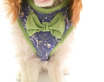 Blue Paisley & Lime Comfort Dog Harness with Bowtie