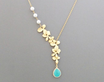 Personal, Stone, Color, Triple, White, Pearl, Orchid, Flower, Gold, Silver, Necklace, Birthday, Wedding, Friends, Mom, Gift