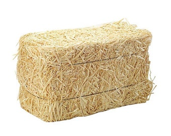 """Miniature Hay Bale 5"""" Real Hay For DIY Country Craft Projects"""