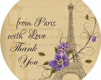 Paris Thank You Labels, Paris Thank You Stickers, Paris Favor Labels, 2 Inch Stickers,  Paris Stickers