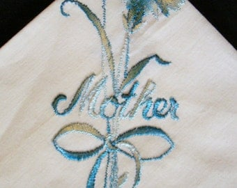 Mother Hankie Vintage Handkerchief Hankerchief Blue Embroidered Flowers White Lace Edge 1970s