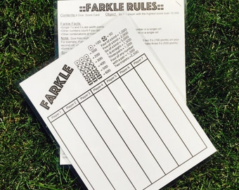 8.5x11 double sided Farkle & Farkle rules score card - score sheet - laminated - reusable