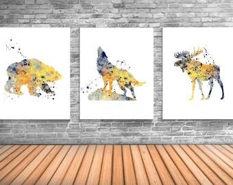 Bear Art, Wolf, Moose, North American Animal Art Prints, Hunting Posters WS13