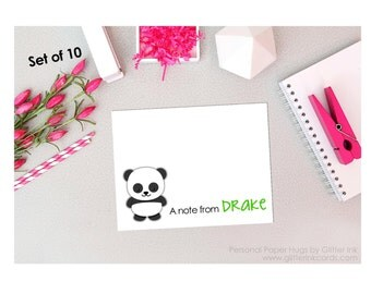 Set of 10 Blank Note Cards -Panda Note Cards - Panda Stationery - Panda Thank You Cards