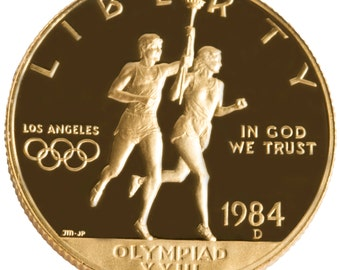 1984-D Los Angeles Olympic Ten 10 Dollar Proof Gold Commemorative Coin