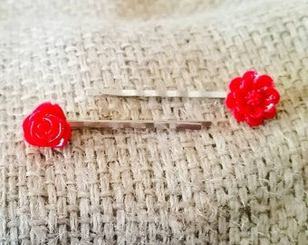 Red Floral Bobby Pin Set