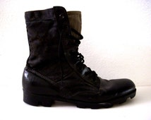 Vintage Black Leather and Canvas Combat Boots - Grunge Boots - Lace Up Men's Combat Boots - Grunge Hipster Indie Boots - Mens Size 11 R