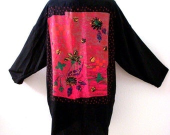 Vintage 90s Black Crepe Kimono Style Jacket with Waterfall Front - Black and Pink Art to Wear Jacket - Size Medium to Large