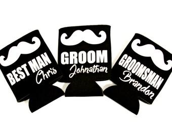 Bachelor Party Can Cooler. Groom Can Cooler. Best Man Can Cooler. Groomsman Can Cooler. Groomsmen Gift. Mustache. Beer Hugger. Beer Huggie.